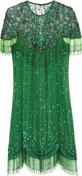 Jenny Packham emerald green embroidery mini dress