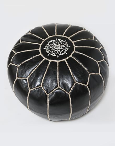 moroccan-leather-pouffe-black-white-lpf-3bkw-m
